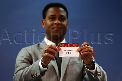 15.03.2013. Nyon, Switzerland. The Europa League quarter final drawing.  Sl Benfica POR is drawn from the pot by Patrick Kluivert to play Newcastle