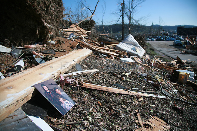 A family portrait lays among the debris in West Liberty, Ky. March 3, 2012. Photo by Brandon Goodwin   Staff