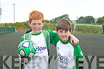 Caolan O'Connell and Gavin O'Brien at the FAI soccer camp at Mounthawk Park on Friday.
