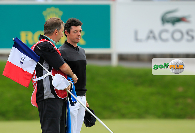 Rory McIlroy (NIR) on the 18th green during Round 4 of the 100th Open de France, played at Le Golf National, Guyancourt, Paris, France. 03/07/2016. <br /> Picture: Thos Caffrey | Golffile<br /> <br /> All photos usage must carry mandatory copyright credit   (&copy; Golffile | Thos Caffrey)