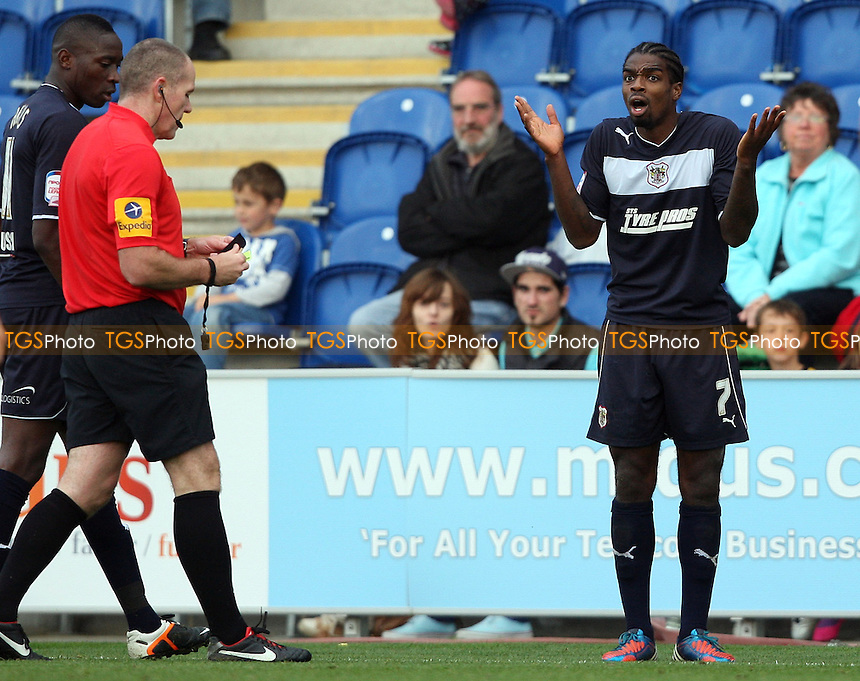 Anthony Grant of Stevenage cannot believe he has just been sent off - Colchester United vs Stevenage, nPower League 1 at The Weston Homes Community Stadium - 13/10/12 - MANDATORY CREDIT: Rob Newell/TGSPHOTO - Self billing applies where appropriate - 0845 094 6026 - contact@tgsphoto.co.uk - NO UNPAID USE.