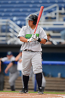 Jamestown Jammers catcher Jin-De Jhang #47 during a game against the Batavia Muckdogs on June 27, 2013 at Dwyer Stadium in Batavia, New York.  The game was postponed in the 4th inning due to rain.  (Mike Janes/Four Seam Images)
