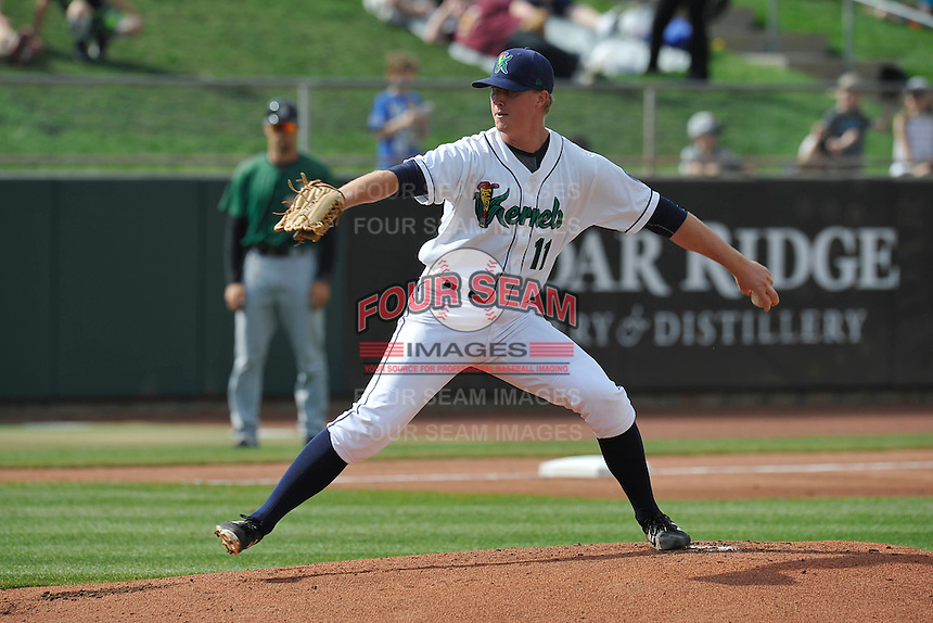 Cedar Rapids Kernels Sam Clay (11) throws during the game against the Clinton LumberKings at Veterans Memorial Stadium on April 16, 2016 in Cedar Rapids, Iowa.  Cedar Rapids won 7-0.  (Dennis Hubbard/Four Seam Images)