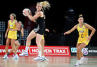 19.09.2013 Silver Ferns Laura Langman in action during the Silver Ferns V Australian Diamonds New World Netball Series played at Vector Arena in Auckland. Mandatory Photo Credit ©Michael Bradley.