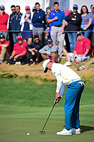 Adam Scott (AUS) barely misses his putt on 14 during round 3 Foursomes of the 2017 President's Cup, Liberty National Golf Club, Jersey City, New Jersey, USA. 9/30/2017.<br /> Picture: Golffile | Ken Murray<br /> <br /> All photo usage must carry mandatory copyright credit (&copy; Golffile | Ken Murray)