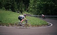 Lars Bak (DEN/Lotto-Soudal) descending the Passo della Mauria<br /> <br /> stage 15: Tolmezzo &ndash; Sappada (176 km)<br /> 101th Giro d'Italia 2018