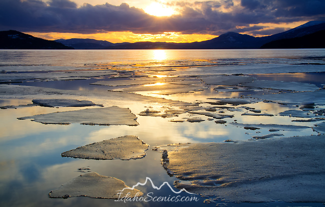 Idaho, North, Bonner County, Sandpoint. Ice thaws on Oden Bay of Lake Pend Oreille under evening sun rays.