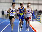 BROOKINGS, SD - FEBRUARY 24:  Alejandro Sanchez from South Dakota State University, center, leads Cameron Roehl from North Dakota State University and Jacob Simmons from the University of South Dakota in the men's distance medley Friday afternoon at the Summit League Indoor Championships in Brookings, SD. (Photo by Dave Eggen/Inertia)