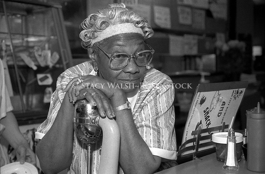 New York, NY - Circa 1988 - Counter Waitress at City Bowling in Port Authority Bus terminal