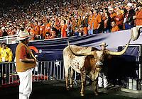 Jan 7, 2010; Pasadena, CA, USA; Texas Longhorns mascot Bevo stands on the sideline during the third quarter of the 2010 BCS national championship game at the Rose Bowl.  Mandatory Credit: Mark J. Rebilas-