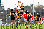 Dr Crokes Johnny Buckley rises highest during the County Championship QF in Fitzgerald Stadium on Sunday