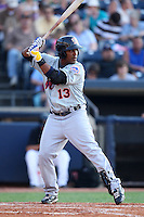 Binghamton Mets Outfielder Brahiam Maldonado (13) during a game vs. the Akron Aeros at Eastwood Field in Akron, Ohio;  June 25, 2010.   Binghamton defeated Akron 5-3.  Photo By Mike Janes/Four Seam Images