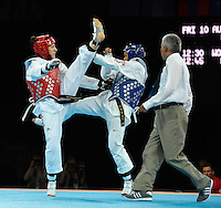 Sarah Stevenson (GBR) (red) fights and loses to Paige McPherson (USA).Taekwondo.ExCel Arena.Olympics 2012.London UK. .10/08/12,.photo: Sean Ryan / IPS Photo Agency.. mobile: 07971 400 939.Address: Thatched Cottage,Wretham,Thetford, Norfolk IP24 1RH .Office tel: 01953 499 403...