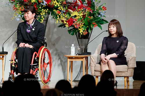 (L to R) Athens Paralympic swimming gold medalist Mayumi Narita and Rio Olympic weigh lifting bronze medalist Hiromi Miyake attend the World Assembly for Women : WAW! 2016 on December 13, 2016, Tokyo, Japan. Female leaders from politics, business, sports and society are attending WAW! 2016 to discuss the roles of women in their countries and affiliations. Japan is trying to increase the participation of women in work and Abe's administration set a goal of increasing the share of women in management roles to 30 percent by 2020. WAW! 2016 is being held from December 13 to 14 at the Grand Prince Hotel New Takanawa in Tokyo. (Photo by Rodrigo Reyes Marin/AFLO)