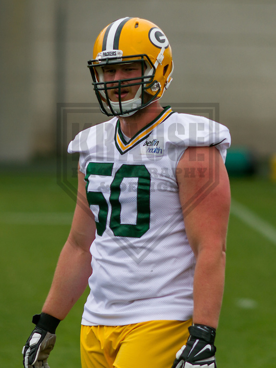GREEN BAY - June 2015: Green Bay Packers Vince Kowalski (50) during a minicamp practice on June 18th, 2015 at Clarke Hinkle Field in Green Bay, Wisconsin. (Brad Krause/Krause Sports Photography)