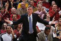 STANFORD, CA - JANUARY 17:  Former Stanford head coach Mike Montgomery during Stanford's 75-69 win over the University of California Golden Bears on January 17, 2009 at Maples Pavilion in Stanford, California.