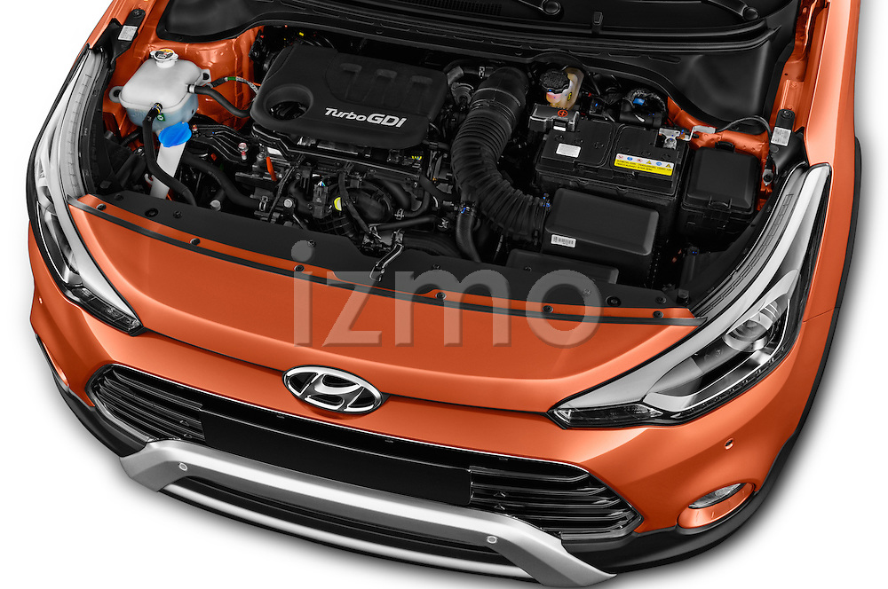 Car Stock 2016 Hyundai i20 ACTIVE Pop 5 Door Hatchback Engine  high angle detail view