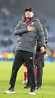 26th December 2019; King Power Stadium, Leicester, Midlands, England; English Premier League Football, Leicester City versus Liverpool; Liverpool Manager Jurgen Klopp comes over to thank the Liverpool supporters with his hand on his heart - Strictly Editorial Use Only. No use with unauthorized audio, video, data, fixture lists, club/league logos or 'live' services. Online in-match use limited to 120 images, no video emulation. No use in betting, games or single club/league/player publications