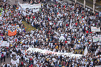 Wide view of protesters from Cibeles Town Hall.