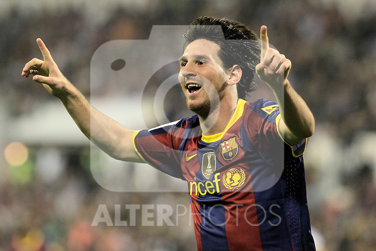 FC Barcelona's Lionel Messi celebrates goal during La Liga match.October 23,2010. (ALTERPHOTOS/Acero)