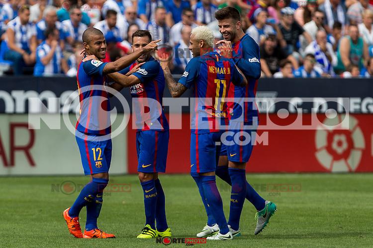 FC Barcelona's Rafinha Alcantara Neymar Santos Jr Gerard Pique  during the match of La Liga between Club Deportivo Leganes and Futbol Club Barcelona at Butarque Estadium in Leganes. September 17, 2016. (ALTERPHOTOS/Rodrigo Jimenez) /NORTEPHOTO