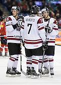 Miks Indrasis (Latvia - 10), Raimonds Vilkoits (Latvia - 7), ? - Team Switzerland defeated Team Latvia 7-5 on Wednesday, December 30, 2009, at the Credit Union Centre in Saskatoon, Saskatchewan, during the 2010 World Juniors tournament.
