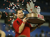 January 5th, 2008:  Rutgers head coach Greg Schiano lifts the championship trophy after the International Bowl at the Rogers Centre in Toronto, Ontario Canada...Rutgers defeated Ball State 52-30.  ..Photo By:  Mike Janes Photography