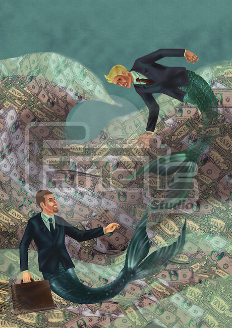 Illustrative image of business mermaids swimming in water