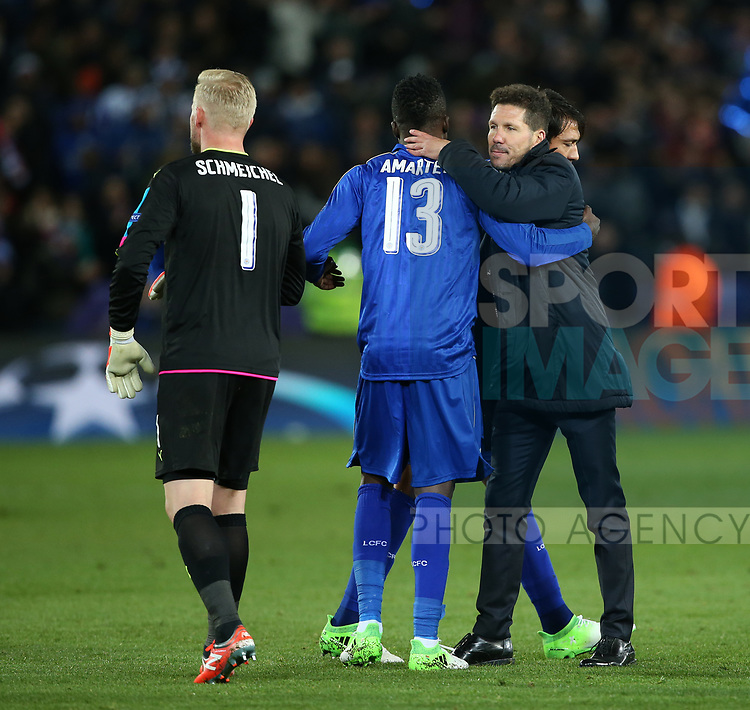 Leicester's Daniel Amartey is consoled by Atletico's Diego Simeone during the Champions League Quarter-Final 2nd leg match at the King Power Stadium, Leicester. Picture date: April 18th, 2017. Pic credit should read: David Klein/Sportimage