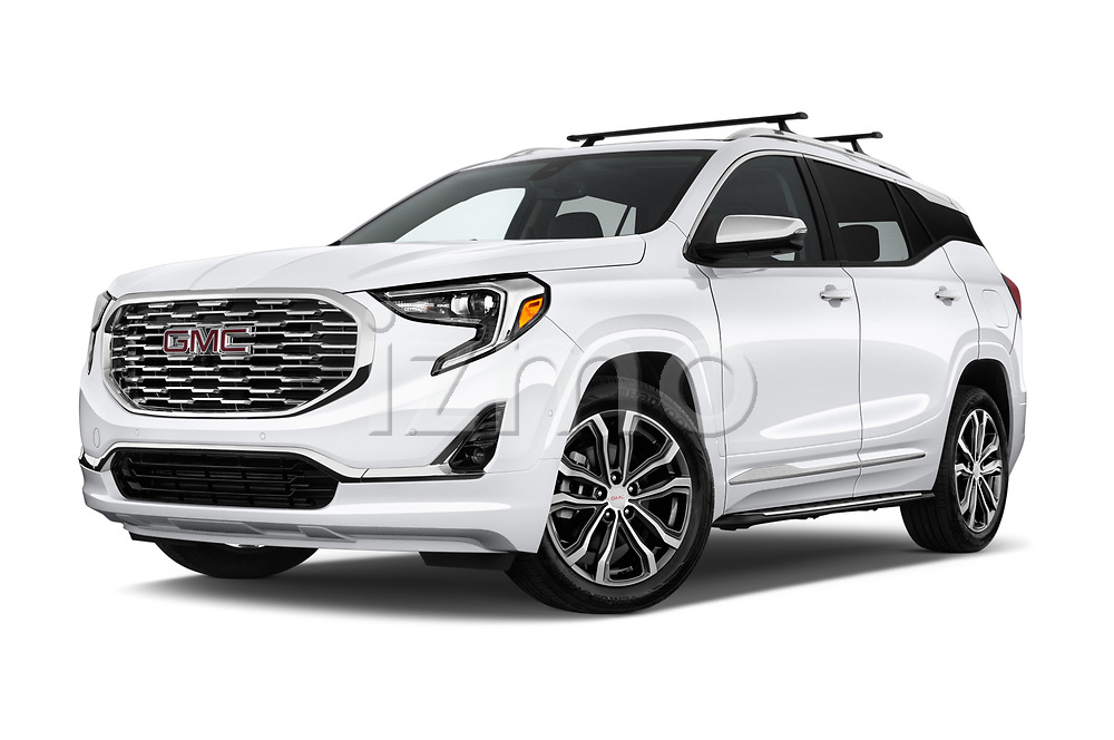 Stock pictures of low aggressive front three quarter view of a 2018 GMC Terrain Denali base 5 Door SUV
