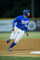 Xavier Fernandez (34) of the Burlington Royals hustles towards third base against the Greeneville Astros at Burlington Athletic Park on August 29, 2015 in Burlington, North Carolina.  The Royals defeated the Astros 3-1. (Brian Westerholt/Four Seam Images)