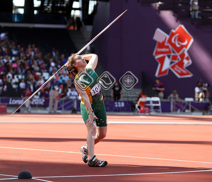 Georgia Beikoff (AUS) Bronze, Women's Javelin Throw - F37/38<br /> Athletics, Olympic Stadium (Saturday 8th Sept)<br /> Paralympics - Summer / London 2012<br /> London England 29 Aug - 9 Sept <br /> &copy; Sport the library/Joseph Johnson