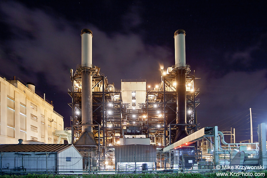 Pearl City Power Plant at night, O'ahu