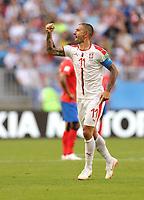 (180617) -- SAMARA, June 17, 2018 -- Aleksandar Kolarov of Serbia celebrates scoring during a group E match between Costa Rica and Serbia at the 2018 FIFA World Cup WM Weltmeisterschaft Fussball in Samara, Russia, June 17, 2018. ) (SP)RUSSIA-SAMARA-2018 WORLD CUP-GROUP E-COSTA RICA VS SERBIA FeixMaohua <br /> Samara 17-06-2018 Football FIFA World Cup Russia  2018 <br /> Costa Rica - Serbia<br /> Foto Xinhua/Imago/Insidefoto