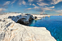 Rock formations in Sarakiniko of Milos, Greece
