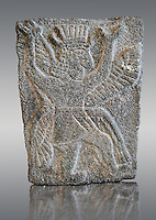 9th century BC stone Neo-Hittite/ Aramaean Orthostats from Palace Temple of the Aramaean city of Tell Halaf, ancient Guzana, in northeastern Syria close to the Turkish border. The Orthostats are in a Neo Hittite style and depict a mythical God. Louvre Museum, Paris, inv AO11073