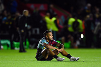 Alofa Alofa of Harlequins looks dejected after the final whistle. Gallagher Premiership match, between Harlequins and Saracens on October 6, 2018 at the Twickenham Stoop in London, England. Photo by: Patrick Khachfe / JMP