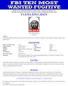 "FBI ""Most Wanted Terrorist"" poster picturing Usama Bin Laden released in Washington, D.C. on Monday, May 2, 2011 following the  announcement of his death in a U.S. 'Targeted Operation in Pakistan on Sunday, May 1, 2011..Credit: FBI via CNP"