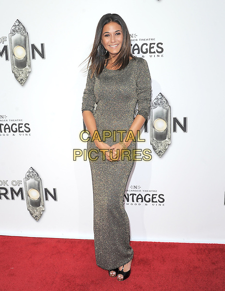 """Emmanuelle Chriqui.""""The Book of Mormon"""" Hollywood Opening night Held At The Pantages theatre, Hollywood, California, USA..September 12th, 2012.full length silver grey gray dress  .CAP/DVS.©DVS/Capital Pictures."""
