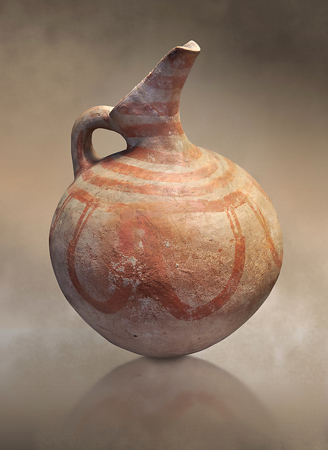 Cycladic beak spouted jug.  Early Cycladic III (2300-2000 BC) , Phylakopi, Melos. National Archaeological Museum Athens. Cat No 5726.<br /> <br /> During this period pottery was plainer with simple geometric decorations. Depicts of birds or lowers were rare.