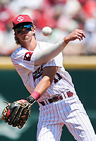 NWA Democrat-Gazette/CHARLIE KAIJO South Carolina infielder LT Tolbert (11) throws the ball during the second game of the NCAA super regional baseball, Sunday, June 10, 2018 at Baum Stadium in Fayetteville. Arkansas fell to South Carolina 5-8.