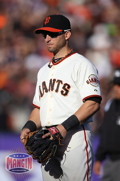 SAN FRANCISCO, CA - SEPTEMBER 9:  Marco Scutaro #19 of the San Francisco Giants plays defense at second base against the Los Angeles Dodgers during the game at AT&T Park on Sunday, September 9, 2012 in San Francisco, California. Photo by Brad Mangin