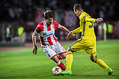 14th September 2017, Red Star Stadium, Belgrade, Serbia; UEFA Europa League Group stage, Red Star Belgrade versus BATE; Defender Filip Stojkovic of Red Star Belgrade challenged by Denis Polyakov
