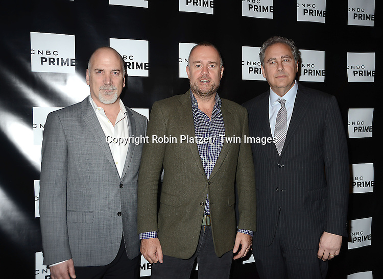 "Jim Ackerman, Michael Davies and Mark Hoffman attend the CNBC Launch Event for their new primetime shows on February 28, 2013 at Classic Car Club Manhattan in New York City. The two new shows are .""Treasure Detectives"" and ""The Car Chasers"" which will be shown on Tuesday nights."