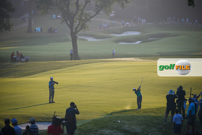 Jordan Smith (ENG) hits hit approach shot on 9 during 2nd round of the 100th PGA Championship at Bellerive Country Club, St. Louis, Missouri. 8/11/2018.<br /> Picture: Golffile | Ken Murray<br /> <br /> All photo usage must carry mandatory copyright credit (© Golffile | Ken Murray)