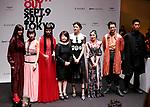 September 9, 2017, Tokyo, Japan - (L-R) Arisa Urahama, Mademoiselle Yulia, Yuka Mannami, Mitsuko Watanabe, Hikari Mori, Mika Nakashima, Ryo Ryusei and Naoki Kobayashi pose for photo at the opening ceremony for the Vogue Fashion's Night Out 2017 in Tokyo on Saturday, September 9, 2017. Some 630 shops participated one-night fashion shopping event in Tokyo. (Photo by Yoshio Tsunoda/AFLO) LWX -ytd-