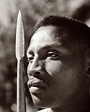 MADAGASCAR, mid adult man holding spear, close-up, Beza Mahafaly (B&W)
