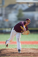 Iona Gaels starting pitcher Stephen Hansen (28) delivers a pitch to the plate against the Rutgers Scarlet Knights at City Park on March 8, 2017 in New Rochelle, New York.  The Scarlet Knights defeated the Gaels 12-3.  (Brian Westerholt/Four Seam Images)