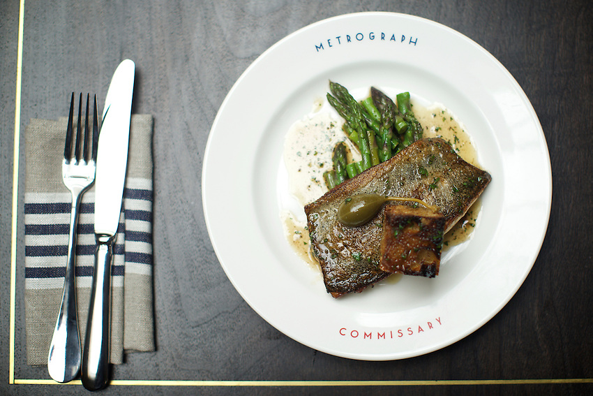 NEW YORK, NY - May 3, 2016: Seared Trout in brown butter with asparagus &amp; parsley at Metrograph Commissary. The new restaurant at Lower East Side movie theater, Metrograph opens on Thursday, May 5th.<br /> <br /> CREDIT: Clay Williams for New York Magazine.<br /> <br /> &copy; Clay Williams / claywilliamsphoto.com