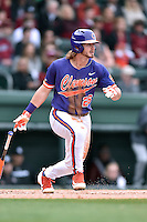 Clemson Tigers left fielder Reed Rohlman (26) swings at a pitch during a game against the South Carolina Gamecocks at Fluor Field on March 5, 2016 in Greenville, South Carolina. The Tigers defeated the Gamecocks 5-0. (Tony Farlow/Four Seam Images)